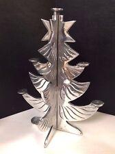 Mcm 2pc Pewter Christmas Tree Holiday Decoration, Candle Holder - Swedish Style