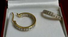 LARGE 14K YELLOW GOLD STERLING SILVER 1/2 .50 CARAT CT DIAMOND HOOP EARRINGS SET