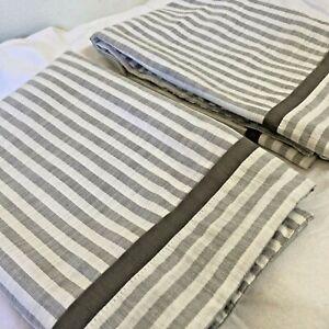 Pair (2) THRESHOLD Gray White Striped Standard Size Pillow Shams 100% Cotton