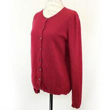Lands'end 2-Ply 100% Cashmere Knit Burgundy Crew Neck Cardigan Sweater Medium