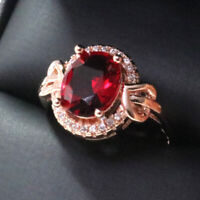 2.5 Ct Oval Red Ruby Halo Ring Women Wedding Jewelry Gift 14K Rose Gold Plated