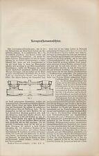 Druck 1902: Kompressions-Maschine. Kompressoren. Ventil-Einzylinder-Kompressor
