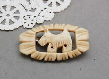 "Scotty Dog Scottish Terrier Hand Carved Bovine Bone Pin Brooch Vintage 1 3/4"""