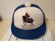 Vtg Snapback Cap Pom Pom Trucker Hat Short Bill White & Blue Mesh Horse & Rider
