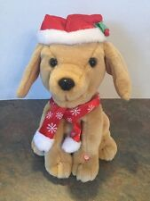 Gemmy Christmas Animated Dancing Plush Golden Lab Dog Singing Up on the Housetop