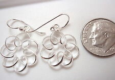 Curls and Spiral Dangle Earrings 925 Sterling Silver Corona Sun Jewelry