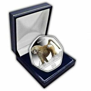 Baboon 2018 50p Cupro Nickel Coloured Coin in a box