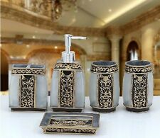 5Pcs Resin Bathroom Accessories Sets Home Aristocracy Toothbrush Cup Soap Dish!