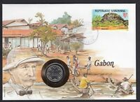 Gabon Africa Stamp & Central Africa States 1980 coin on 1985 Cover Boats Natives