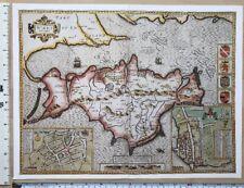Old Tudor map of Isle of Wight, England: John Speed 1600's, Southampton Reprint