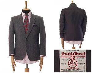 Mens HARRIS TWEED Blazer Coat Jacket Wool Herringbone Grey Size 40 50
