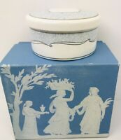 Wedgwood Venice Bone China Trinket Jewelry Ring Box Blue & Ivory with Lid In Box