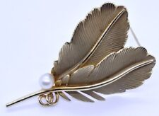 Vintage Carl-Art 14K Solid Yellow Gold Palm Frond Leaf Feather Pearl Pin Brooch