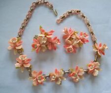 Beautiful Vintage Celluloid Peaches & Cream ORCHIDS Necklace & Earrings