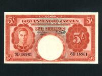 Jamaica:P-37a,5 Shillings,1950 * King George VI * AU-UNC *