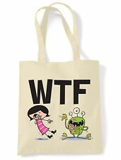 WTF SHOULDER  TOTE BAG - What The F**K Text Language Facebook Twitter