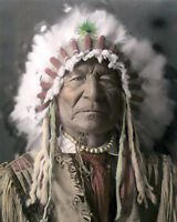 "SITTING BEAR KIOWA WARRIOR NATIVE AMERICAN INDIAN 8x10"" HAND COLOR TINTED PHOTO"