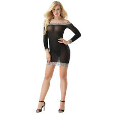 Lady Transparent See-through Off Shoulder Leopard Bodycon Dress Sleepwear Sell