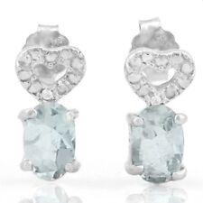 Ohrringe/Ohrstecker Holly, 925er Silber, 0,75 Kt. echter Aquamarin/Diamant