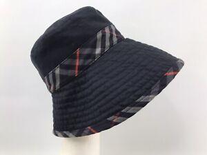 Rare Burberrys Navy Nova Check Bucket Cotton Vintage Hat Size S