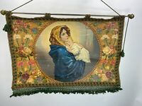 Antique Italian Madonna and Child Hand Painted and Woven Tapestry 19th Century