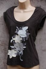 MEXX  Brown Top with Cream collage Flower detail- Size M (Suit size 12-14)