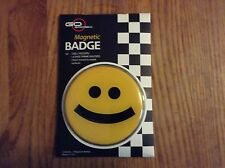 Go Badges. Magnetic badge  yellow smiling face  3 inch