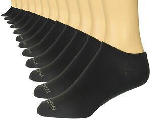 Fruit of the Loom Men's Black and White Liners 12 Pairs No Show Socks Size 6-12