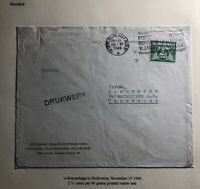 1940 The Hague Netherlands Commercial Cover To Huskvarna Sweden