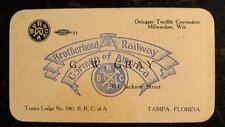 1902 DELEGATE CARD-BROTHERHOOD RAILWAY CARMEN OF AMERICA-TAMPA, FLORIDA