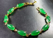 Gold Plate CHINESE Icy green JADE Teardrop Cabochon Bead Bangle Bracelet 291217