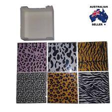 Animal Print Glass Drink Coasters Set of 6 - Bar & Home Decor- Great Gift