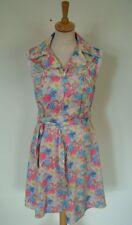 Vintage 70s floral poly open collar sleeveless frill edge summer sun zip dress S