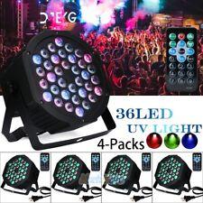 4Pk 80W 36 Led Rgb Stage Lighting Par Light +4 Remote Dmx Party Disco Dj Lights