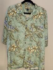Tommy Bahama Mens L 100% Silk Tropical Floral Button Front Camp Hawaiian Shirt