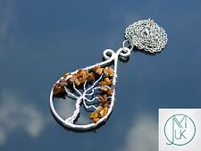 Handmade Tigers Eye Tree of Life Natural Gemstone Pendant Necklace 50cm Healing