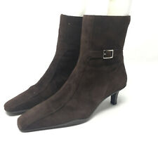 Ann Taylor Loft Chocolate Brown Suede Leather Zip Ankle Boots Size 7 Gold Buckle