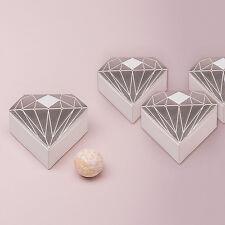 Metallic Silver Diamond Wedding Favor Box 10 Pieces Weddingstar