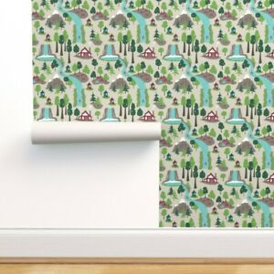 Removable Water-Activated Wallpaper Woods Evergreens Waterfall Mountain Cabins