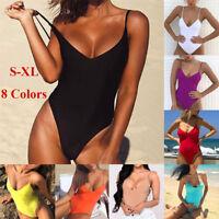 Women Solid Sexy One Piece Swimsuit Halter Bandage Bikini Swimwear Bathing Suit