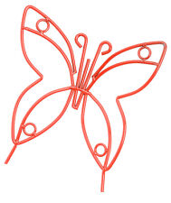 RED BUTTERFLY Wrought Iron Garden Stake - Amish Handmade Lawn Wall Decor