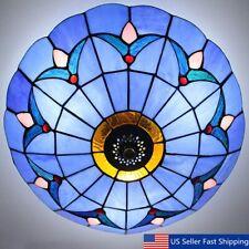 Romance Stained Glass Ceiling Lighting Fixture Flush Mount Vintage Light
