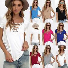 Damen T-Shirt Bluse Oberteile Tops V-Ausschnitt Unifarbe Tee Lace Up Kurzarm Neu