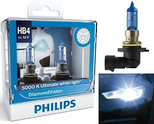 Philips Diamond Vision White 5000K 9006 HB4 55W Two Bulbs Head Light Replacement