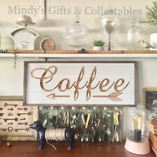 79cm Long Wooden carved Coffee Sign Wall Art Kitchen Cafe Restaurant Decor Boho