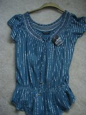 LADIES BLUE & SILVER GYPSY LONG TOP SIZE 16 BNWT - EVENING PARTY  (REF9415)