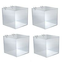 Acrylic Clear Shelf 13.5W x 2H x 8D Inches for Pegboard and Slatwall Lot of 4