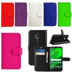 Leather Book Case Wallet Full Cover Moto G3 G4 G5 G6 & G6 Play Free Stylus