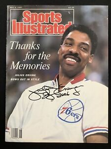 Julius Erving Signed Sports Illustrated Mag 5/4/87 No Label 76ers Autograph JSA
