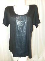 NINE WEST Top Women's Plus Size 1X Black Sequin Front Short Sleeve Shirt Blouse